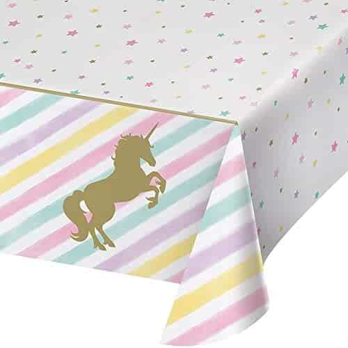 Creative Converting 329302 All Over Print Plastic Tablecover, Unicorn Sparkle