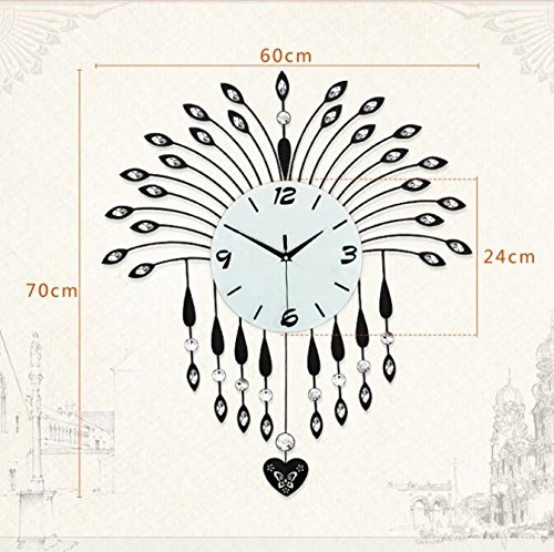 Amazon.com: Jedfild Rocking Wall Clock Drawing continental creative Iron Art Clocks ultra-quiet bedroom clock: Home & Kitchen