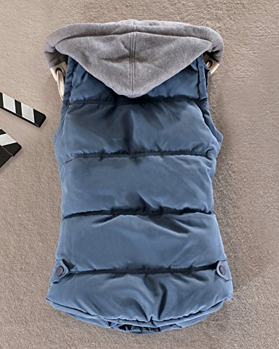 Gilet Mujer Abrigo Acolchado Espesar Con Chaquetas Capucha Cálido Invierno Azul Sin Mangas RdpdnqrFx