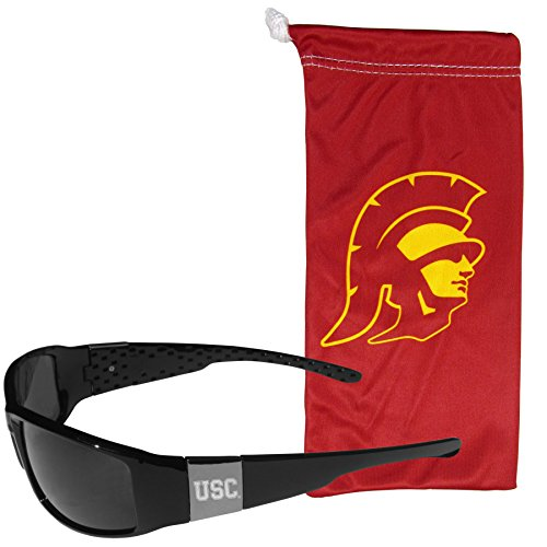 NCAA USC Trojans Etched Chrome Wrap Sunglasses and Bag, Adult Size, - Usc Sunglasses