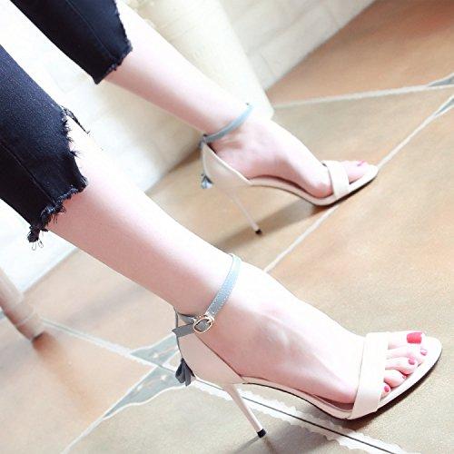 Mode d'été a Chaussures Boutons Nouveau Hauts Talons Bow de Creux Style Femmes Talons YMFIE 5XfqO