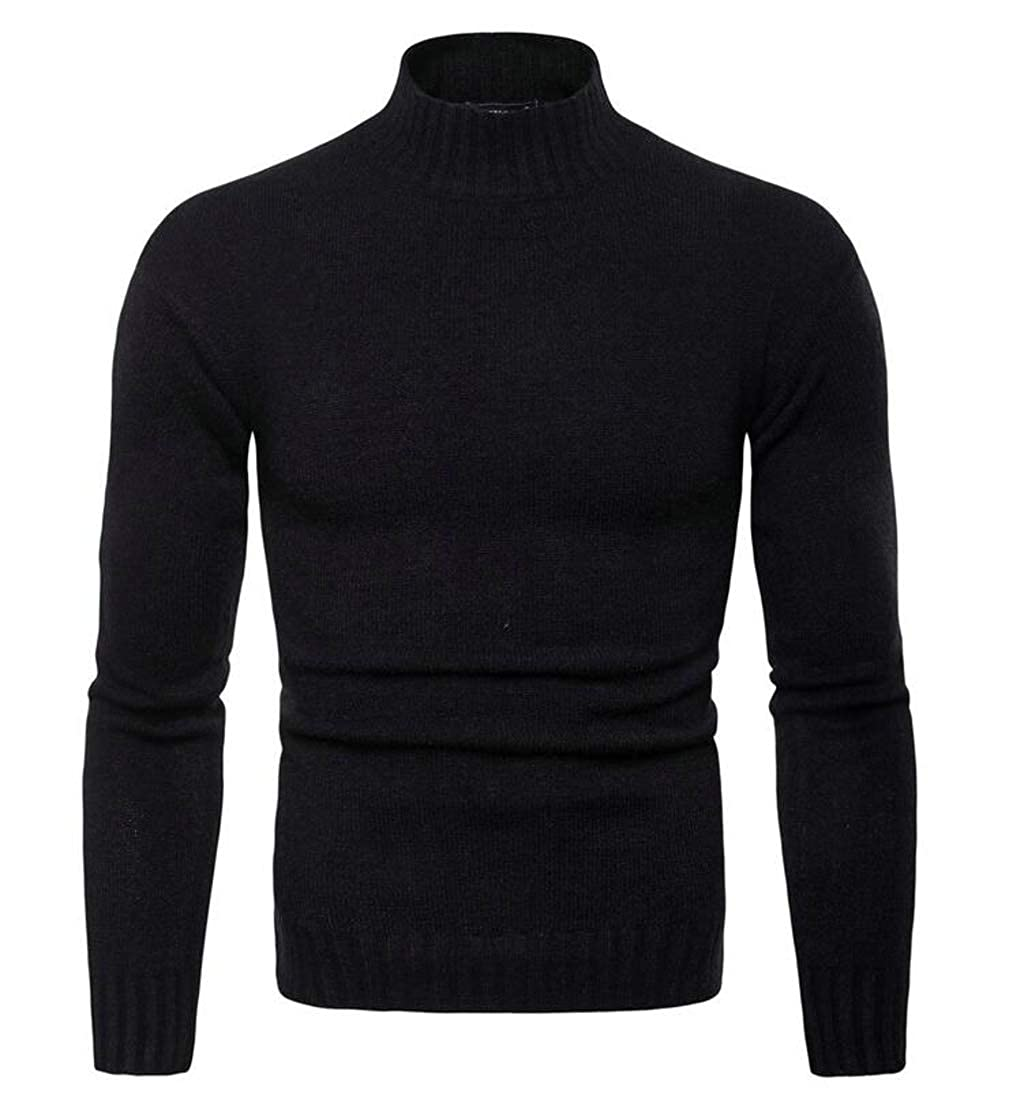 Etecredpow Mens Slim Fit Classical Knitted Pullover Casual Turtleneck Sweaters