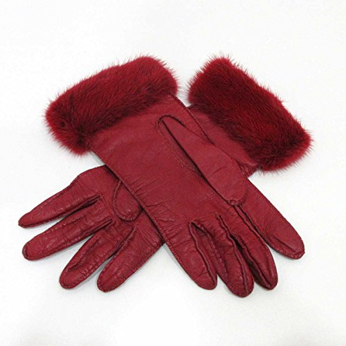 (プラダ) PRADA レザーグローブ 手袋 ラムスキン×ミンク 赤 レッド レディース 中古