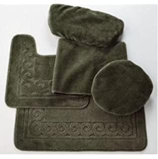 Madison Industries Scroll 5 Piece Rug and Toilet Tank Set  Moss Green. 5 piece bathroom rug set   Roselawnlutheran