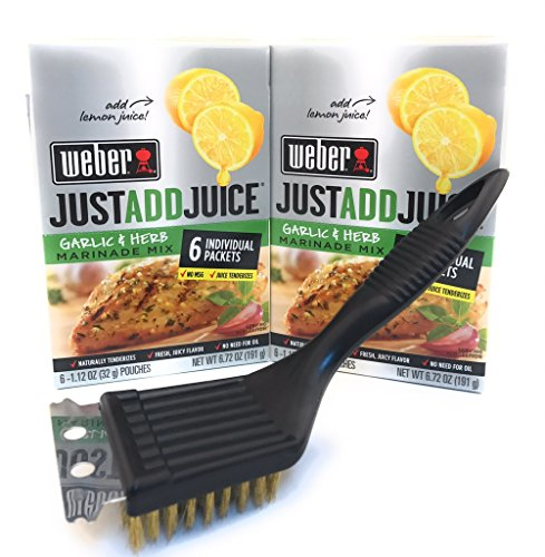 Weber Just Add Juice Marinade for Chicken and Pork NET WT 6.72 OZ, Total of 12 Packets of Marinade and BBQ Time Brush and Scraper