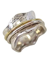 Energy Stone Meadow Petite Raised Flowers Silver Meditation Spinning Ring with Brass and Silver Spinners (Style# SRA04)