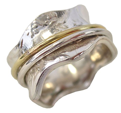 "Energy Stone ""Meadow Sterling Silver Meditation Spinning Ring 1 Silver and 1 Brass Spinners Petite Flower Pattern (SKU# US04) (8.5)"