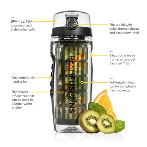 Fresh Fusions 32 oz Fruit Infuser Water Bottle And Sleeve Combo Set + Bonus eBook - Includes 25 Healthy Recipes For Infused Water (Calypso Coral)