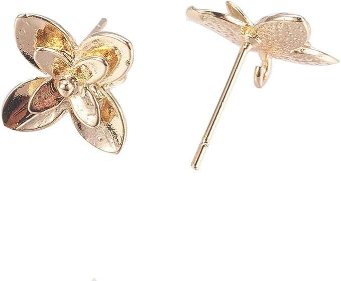 Kissitty 20Pcs Nickel Free 18K Gold Plated Drawbench Brass Drop Post Stud Earrings 28x21mm for Dangle Earring Jewelry Making