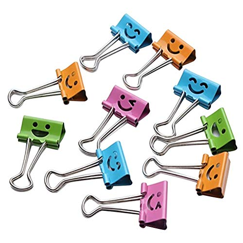 Price comparison product image Coerni 10 PCS Assorted Binder Clips Paper Clamp Smiling Face Metal Clip Binder Clips Album Paper Clips Stationary Office Supplies