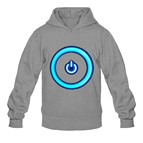 Yhdjk Men's Cool Power Button Hoodie Dark Grey L Button Moon T-shirt