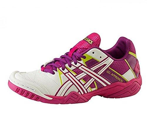 Asics–Botas de fútbol para interiores mujer Gel enfoque 2W), color blanco/Morado - weiss/purple/pink