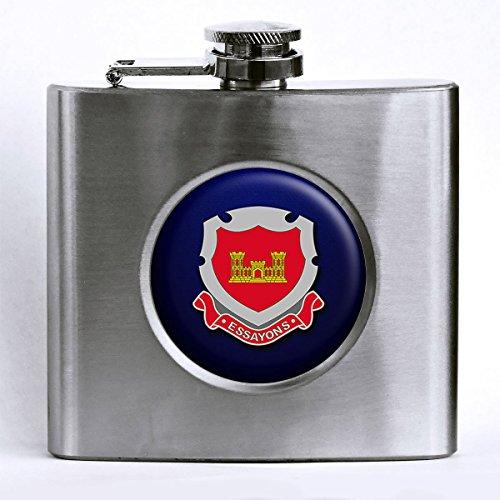 Premium Stainless Steel Hip Flask - US Army Corps of Engineers, regimental (Engineer Pocket Seal)