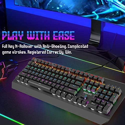 Philip RGB LED Backlit Mechanical Gaming Keyboard with Anti-Ghosting Full Key N-Rollover-Metal Base with Clicky Blue Switches for Windows, Gaming, PC 51qB4eH7MiL