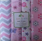 Child of Mine Newborn Baby Flannel Receiving Blanket, 4pk, Pink