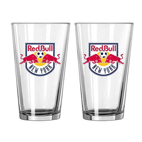 Boelter Brands MLS New York Red Bulls Satin Etch Pint, 16-Ounce, 2-Pack