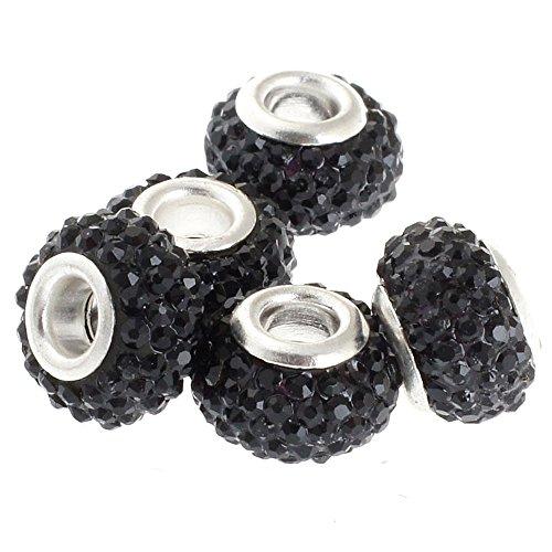 Black Beaded Charms (RUBYCA Big Hole Handmade Czech Crystal Slide Beads fit European Charm Bracelet (10pcs, Black, 11mm))