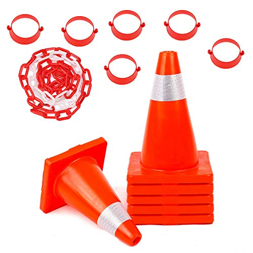 - Traffic Safety Cones 6 Pack 18'' with Reflective Collars and 32FT Chain Connector Kit PVC Unbreakable Orange Construction for Traffic Home Parking