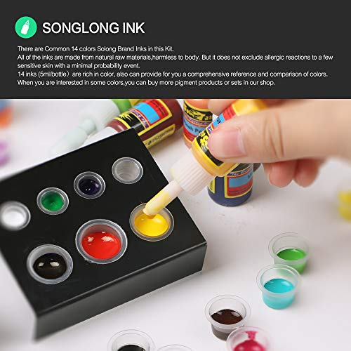 Solong Complete Starter Beginner Tattoo Kit 2 Pro Machine Guns 14 Inks Power Supply Foot Pedal Needles Grips Tips TK213 by Solong Tattoo (Image #6)