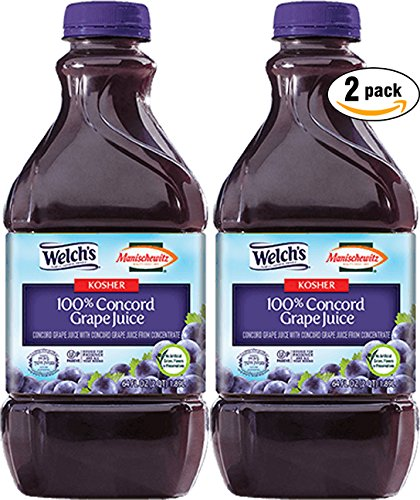 Welchs Manischewitz Concord Grape Juice - No Sulfates - Kosher For Passover, 64 Oz (Pack of 2, Total of 128 Oz)