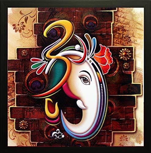 SAF Special Effect Textured Ganesha Painting (SANFO89, 30 cm x 3 cm x 30 cm)