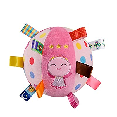 Inchant Baby Soft Plush Ball Educational Stuffed Rattle Ball Sensory Ball Toys for 4-12 Months Infant, Pink Angle: Sports & Outdoors