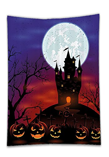Chaoran Tablecloth Halloween Decorations Set by Gothic Haunted House Castle on Top of Hill Valley Night Sky October Festival Theme Bathroom Accessories Extralong Holiday Home Decorative