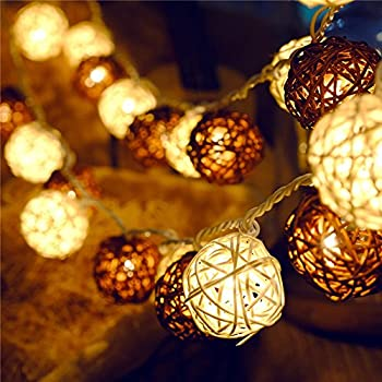 ball fairy lights. letsun battery-operated led 4cm rattan ball fairy lights with metal drops light and