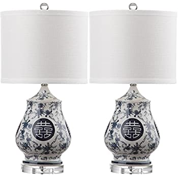 Safavieh Lighting Collection Abbie White and Blue 21-inch Table Lamp (Set of 2)