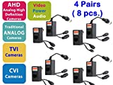 Evertech 4 Pairs Video Audio Power Balun for HD CCTV as AHD TVI CVI Analog Systems Network Transceiver Connectors Cat5/CAT6 to BNC