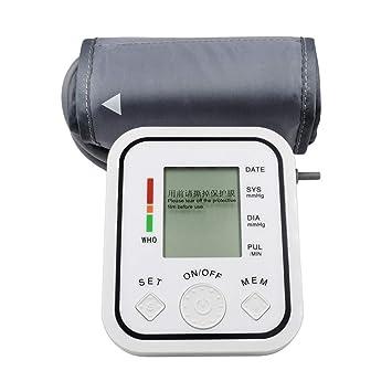 WShijie Tensiómetro electrónico de Brazo Superior con Pantalla LCD, esfigmomanómetro Digital, con medición de
