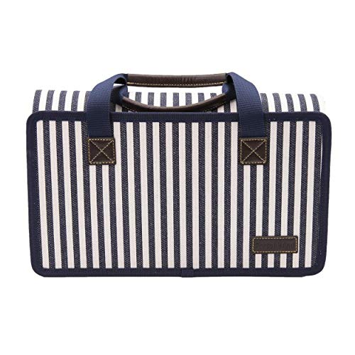 PortableAnd Large Waterproof Outdoor Picnic Blanket, Sandproof and Waterproof Picnic Blanket Tote for Camping Hiking Grass Travelling White and Blue Stripe, 55 X 67