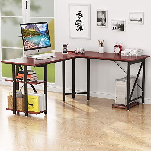6077e847570b Little Tree Large L-Shaped Desk, 67' Modern Corner Computer Desk ...