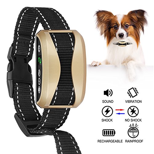 FOLKSMATE [2018 Upgrade Version] Bark Collar, Dog No Bark Collars Upgrade 7 Sensitivity, USB Rechargeable Waterproof Dog Training Collar with No Harm Shock and Vibration for Small Medium Large Dog by FOLKSMATE