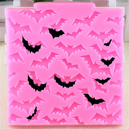 Hosaire 1 Pcs Halloween Bats Cake Border Silicone Molds Cupcake Fondant Cake Decorating Tools