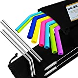 8 Silicone and 4 Stainless Steel Straws for 30 20 Oz Tumbler Yeti Rtic, DanziX Reusable Extra Long Straws with Brushes and Storage Bags, Diameter 0.45'',0.26'', 0.24'',Length 9.6'' ,10.5'' - 6 Colors