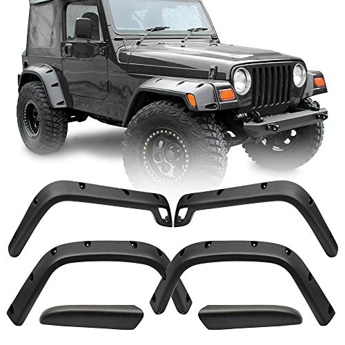- Fender Flares Fits 1997-2006 Jeep Wrangler TJ Sport Utility | Black ABS Pocket Rivet Style Wide by IKON MOTORSPORTS