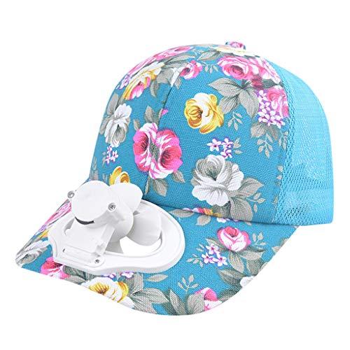Flora Printed Summer Fan Cooling Baseball Cap Hat USB Charging Breathable Shade Sunscreen Hat Blue Dc Star Visor Beanie