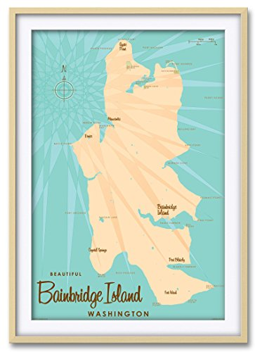 Northwest Art Mall Bainbridge Island Washington Map Professionally Framed & Matted Giclee Travel Art Print by Lakebound Print Size: 24