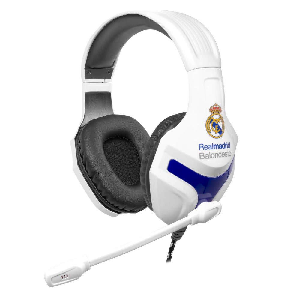 Mars Gaming MHRM - Auriculares gaming del Real Madrid Baloncesto (micrófono plegable, 40mm neodimio, diadema ajustable, PC / PS4 / Mac / XBOX ONE ...