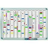 HEBEL planning annuel, (L)1.200 x (P)900 mm, gris, division mensuelle horizontale, aperçu annuel per