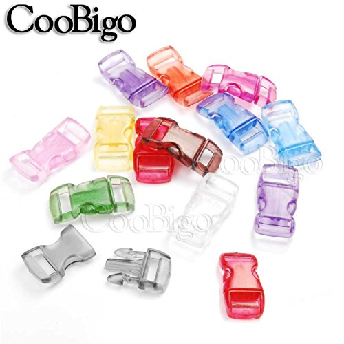 """Colorful Frost Clear Jelly Curved 3/8"""" Side Release Buckles Parachute 550 Cord Paracord Bracelets Pets Collar Strap Webbing 10mm Parts Accessories #FLC003-T (Mixed in a Random)"""