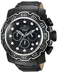 Invicta Mens Lupah Quartz Stainless Steel and Leather Casual Watch, Color:Black (Model: 22485)