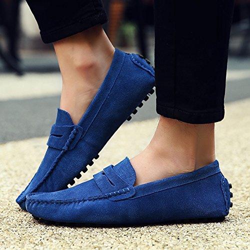 Sunrolan Beau Heren Casual Suede Lederen Penny Loafer Slip-on Rijden Moccasin Platte Schoenen Sapphire Blue