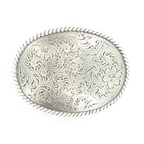 Nocona Men's Floral Scrolled Oval Shaped Buckle, Silver, OS (Silver Buckle Floral)