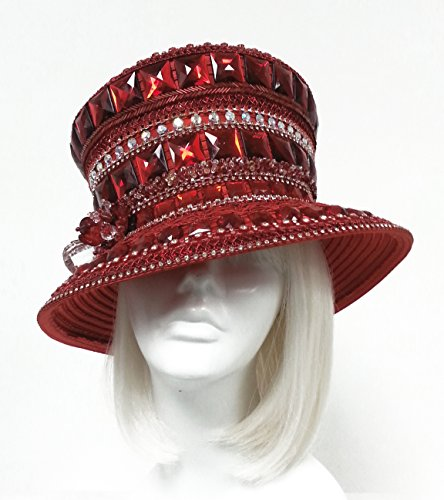 Mr. Song Millinery Kentucky Topper Rhinestone Crystal Beaded Couture Hat Red Siam Ruby - CLEARANCE (Beaded Satin Hat)