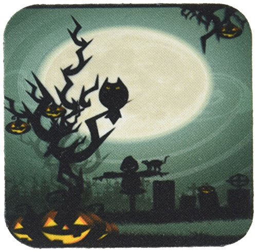 3dRose cst_153147_1 A Scary Halloween Scene with a Pumpkin Haunted Tree Under a Big Moon Soft Coasters, White, Set of 4 -