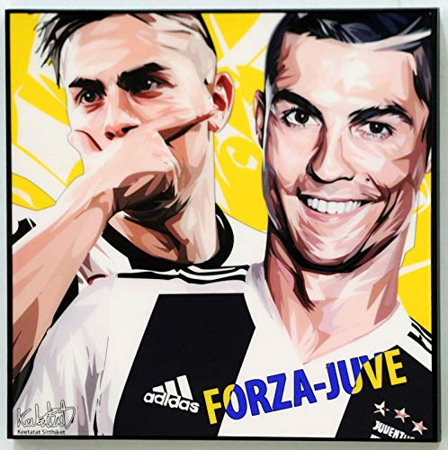 (Ronaldo x Dybala Juventus Poster Quotes Wall Decals Photo Painting Framed pop Art Football Soccer)