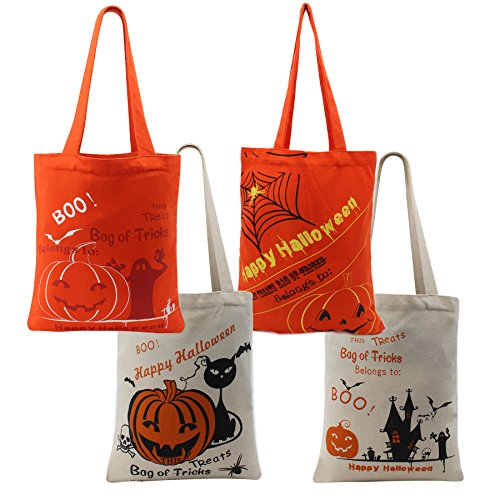 (Halloween Tote Trick or Treat Bag for Kids Candy Basket Party Pumpkin Canvas with Handle Pumpkin - 4 Pack (Halloween Bag-4 Pack))