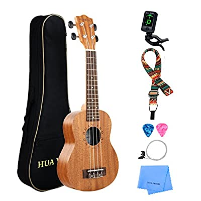 Professional Soprano Ukulele Kit Mahogany HUAWIND Uke Starter Kit Hawaiian Ukulele Beginner Kit for Players Kids Adults Beginners Students Children